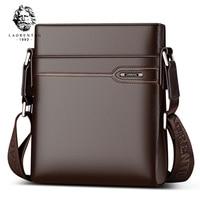 LAORENTOU Men's Genuine Leather Business Messenger Bag Side Shoulder Bag Man Real Cow Leather Vintage Casual Crossbody Bag