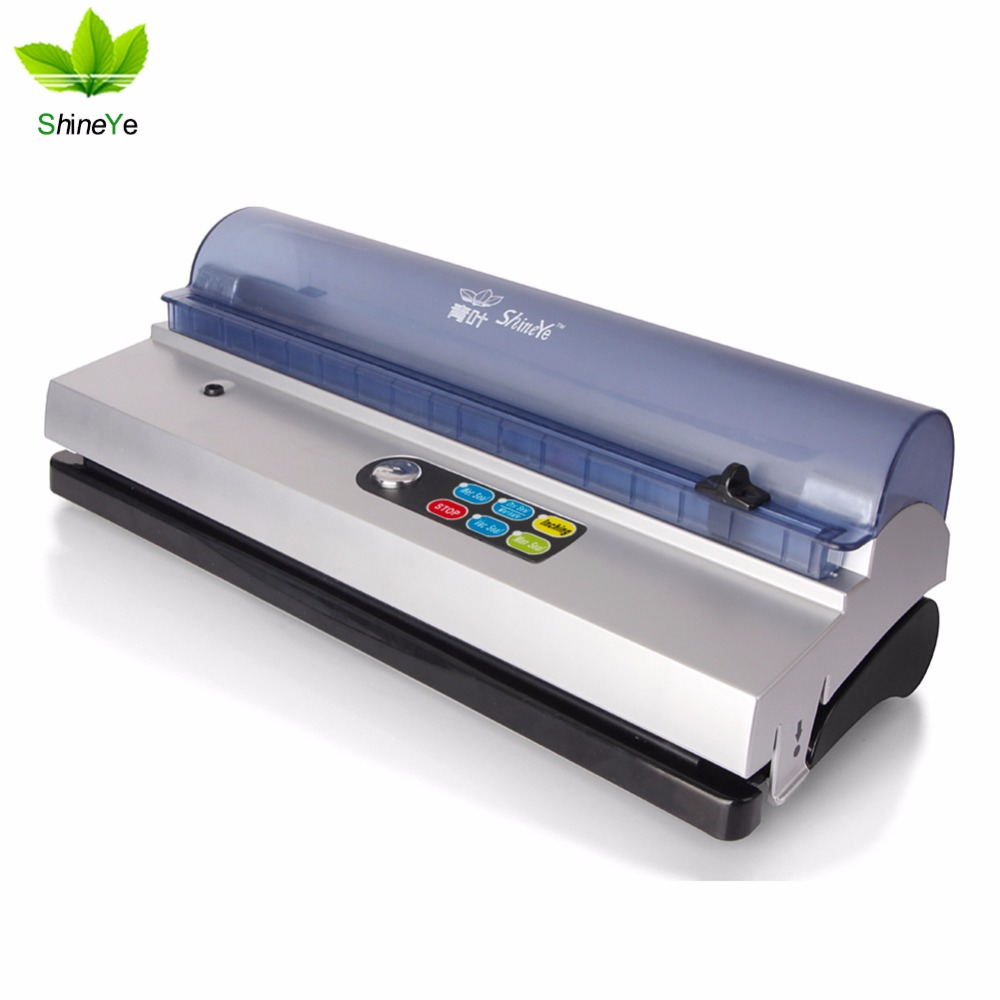 ShineYe 220V / 110V hushållsmat Vacuum Sealer Machine Vacuum Packing Machine Filmbehållare Food Sealer Saver Inkluderar väskor Kit