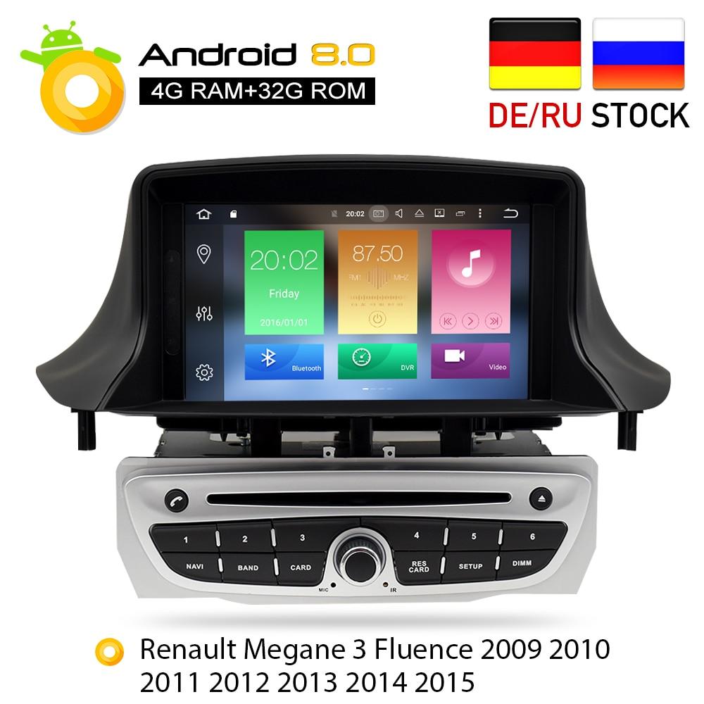 Android 8.0 Autoradio Lecteur DVD GPS Glonass Navigation pour Renault Megane 3 Fluence 4 gb RAM Vidéo Multimédia Radio headunit
