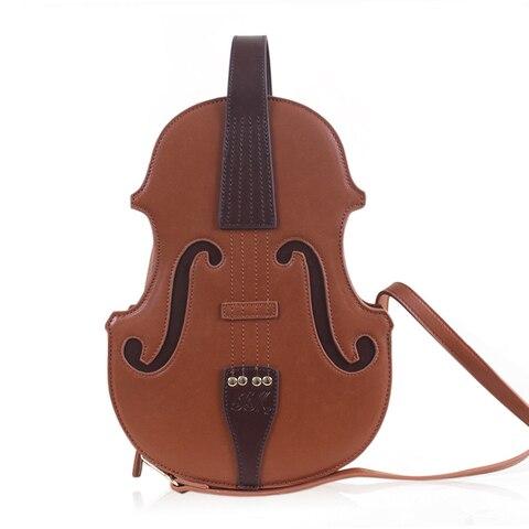 Forma de Bolsa de Couro Lolita para Mulheres do Vintage de Couro Bolsa do Mensageiro da Menina Único Violino Bolsa Crossbody Ocasional pu