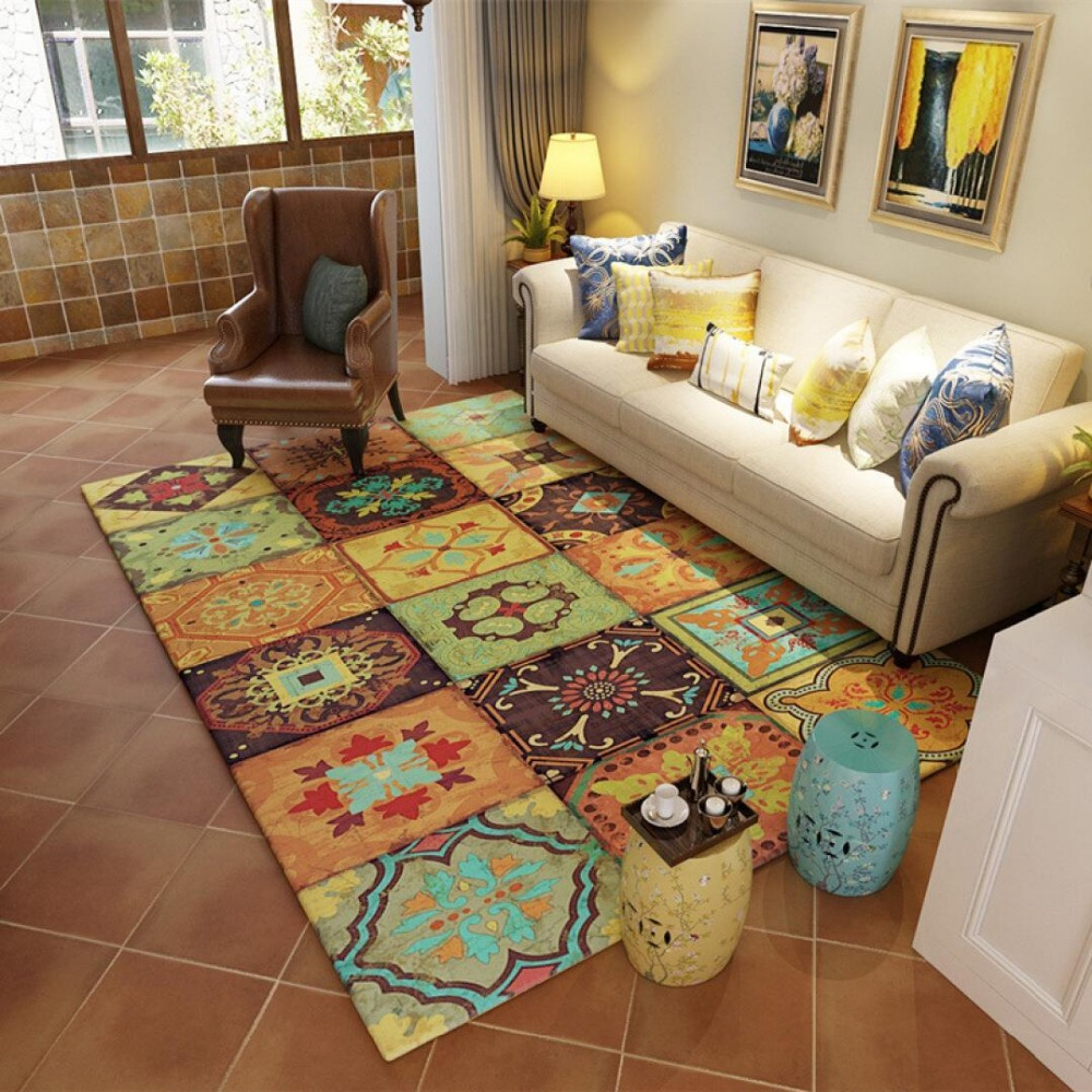 Rural pastoral Retro style carpets for living room Decor rugs Tea table large Area Carpet bedroom Bedside Rectangle Mat/Rug