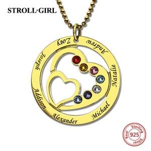 Image 2 - Strollgirl 925 ayar gümüş özel kolye anneler kalp kalp kolye ile 7 çocuklar isimleri ve Birthstones gümüş takı