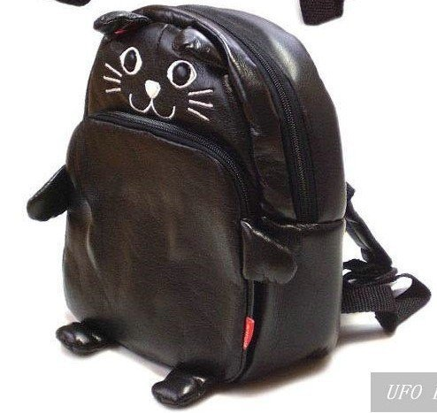 Free shipping! Hot sale PU Linda Lovely Animal Cartoon Child Kid Baby Backpack bag Satchel outdoor bag,(Black Cat)Good Quality