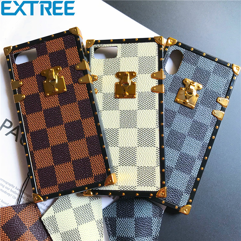 EXTREE Luxury Classic Plaid Square Soft silicone phone case for iphone 6 6s 7 8 plus X cover for samsung galaxy S8 S9 plus