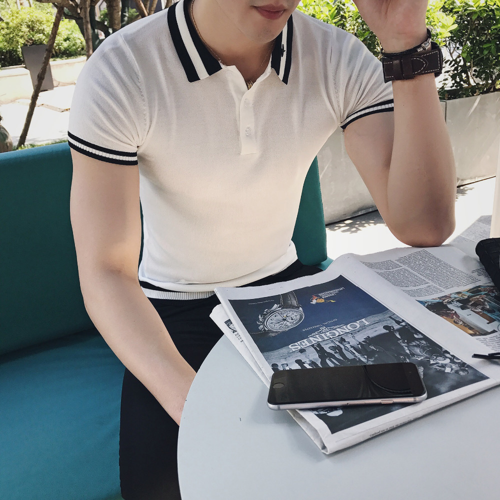 England Style Gentlemen Polo Summer Short Sleeve Knitted Men Polo Shirt Classic Casual Business Polo Homme Breathable Tops Tees