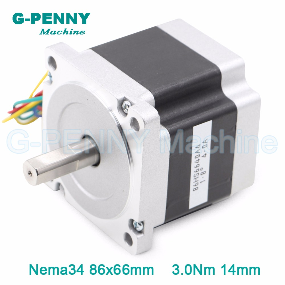 цена на CNC Motor NEMA 34 stepper motor 86X66mm 3 N.m 4A  D14mm nema34 stepping motor 428Oz-in for CNC engraving machine and 3D printer!
