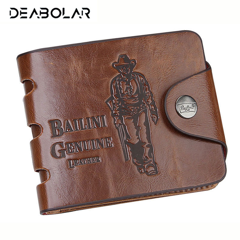 Classic Vintage Male Famous Brand Hunter Coffee Crazey Horse PU Leather Billfold Cowboy Designer Wallet Purse for Men hot 2017 blue ripped jeans men with holes cowboy super skinny famous designer brand slim fit destroyed torn jean pants for male