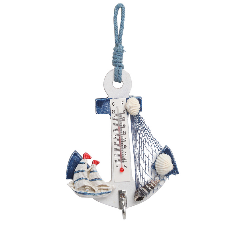 >Mediterranean Style Wood <font><b>Anchor</b></font> Thermometer <font><b>Nautical</b></font> Decor Hanging Crafts Art Wall Hanger Hook Vintage Home Room Decoration Gift