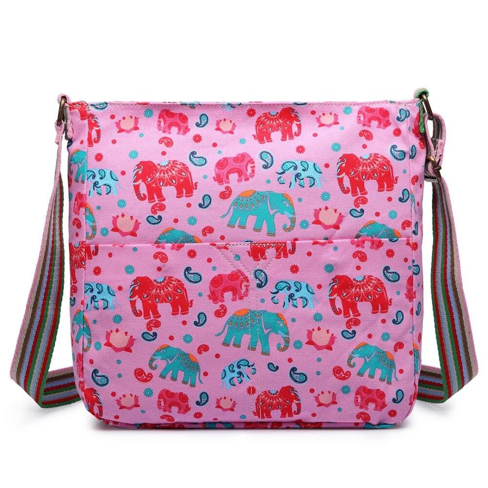 2016 Ladies girl Elephant print shoulder bag A4 notebook messenger bags canvas bags satchel school bags 5 kinds of color