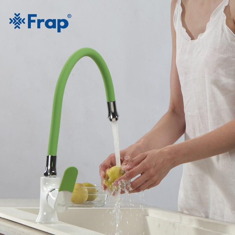 Frap Новые многоцветные силикагель нос любое направление Кухня раковина кран холодной и горячей воды Смеситель torneira cozinha F4034