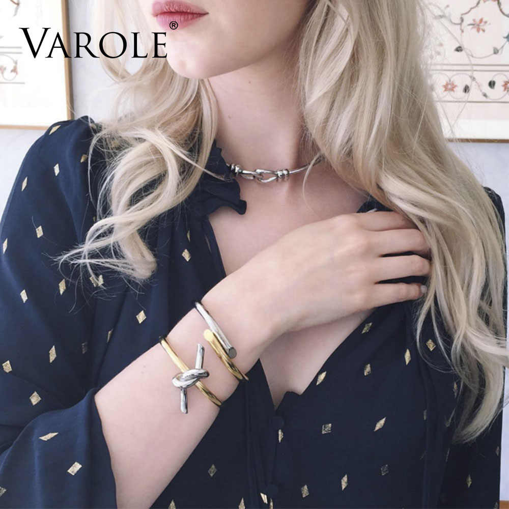 VAROLE ניו קשרים חבל קיץ קאף צמיד זהב צבע נירוסטה צמידים & צמידים לנשים Manchette Pulseras Masculina