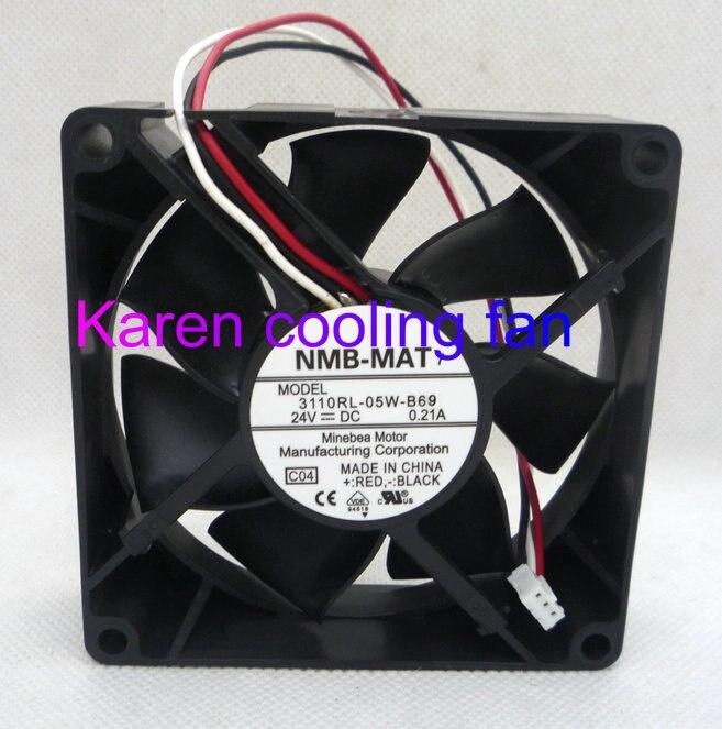 New Originl NMB 8025 24V 0.21A 3110RL-05W-B69 3110RL-05W-B69 3wire cooling fan 3110RL-05W-B59