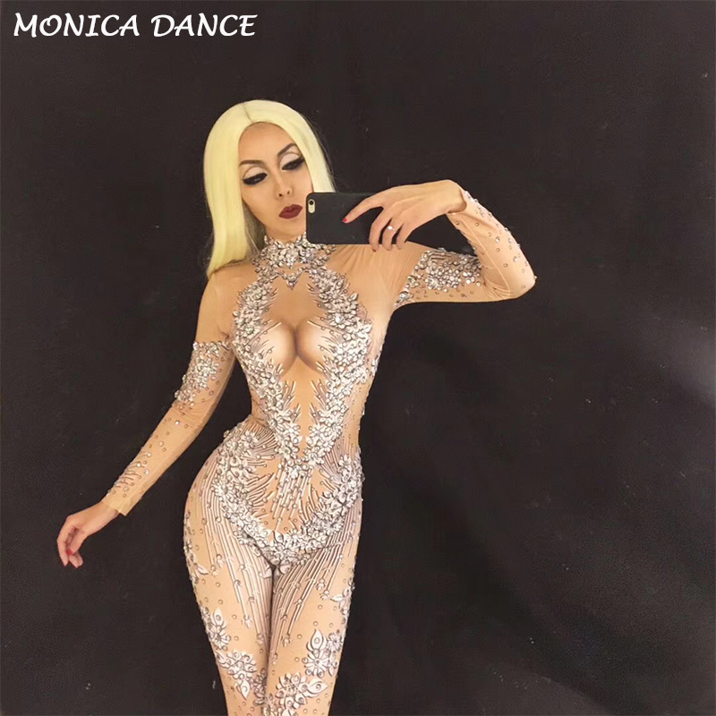 f261d6b271c 3D Printing Sexy Stage Sparkling Crystals Jumpsuit for Singer Bodysuit  Nightclub Birthday Party Performance Stage Wear Costume-in Jumpsuits from  Women s ...