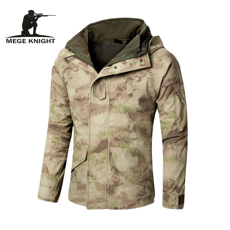 MEGE G8 Windbreaker, Tactical Army Camouflage Coat, Warm Fleece inside, Military Jacket Waterproof Clothes, Men Jackets