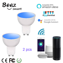 Boaz-EC Smart Wifi RGBW Led Spotlight Voice Control GU10 Bulb Dimmable Alexa Echo Google Home IFTTT Tuya 2pcs