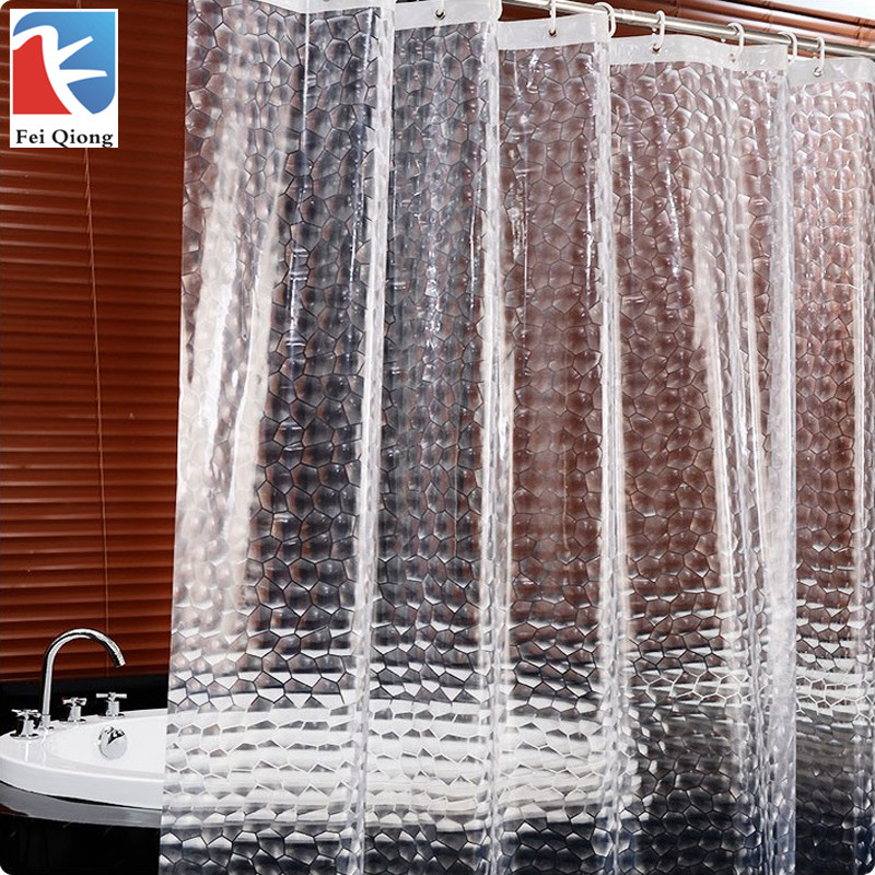Feiqiong Brand Waterproof Shower Curtain 12 Hooks For The Bathroom High Quality Bath Bathing Sheer For Home Decoration