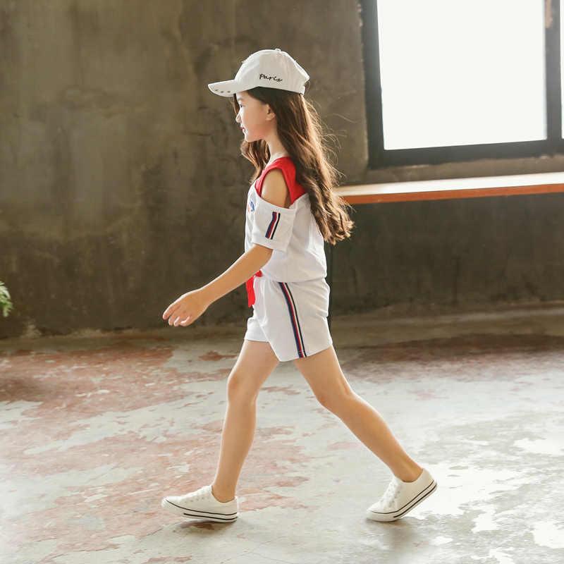 아기 소녀 옷 2020 새로운 여름 어린이 어린이 세트 패션 반팔 티셔츠 + 바지 두 조각 세트 3 4 5 6 7 8 9 10 년