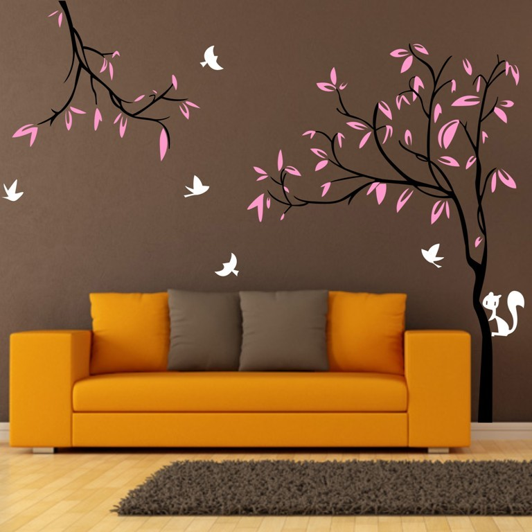 Nice Custom 240X290cm Giant Tree Birds Squirrel TV Background Nursery Wall  Stickers Removable Vinyl Decal Kids Baby Decor Mural Home Design Ideas