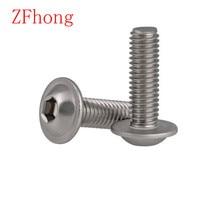 M3 m4 m5 m6 304 botão redondo, cabeça de flange metade de aço inoxidável com arruela interna hex, 10 20 peças parafuso allen da tomada com gola