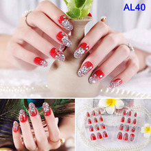 2019 Hot sale 24 Piece Boxed Bridal Nail Patch Art Finished Fake Nails