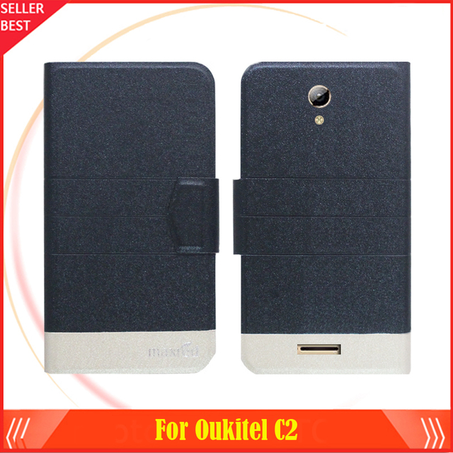 5 Colors Factory Direct!! Oukitel C2 Case Dedicated ultra-thin Flip Fashion Leather 100% Special Protective Phone Cover