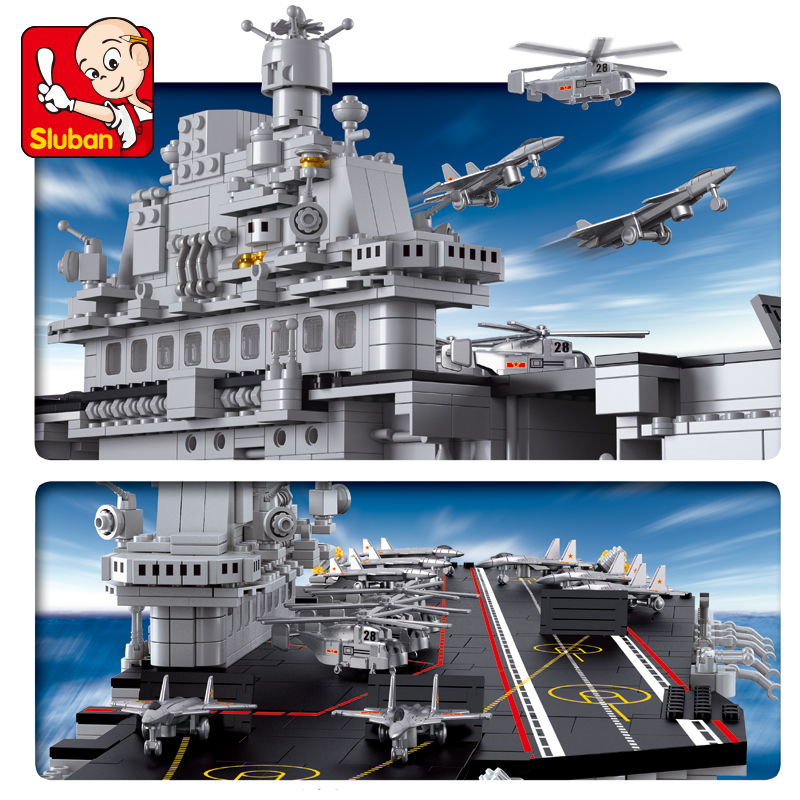 Sluban Blocks 0388 Technic Airplane Aircraft Carriers Compatible LGSet Submarine Sets Ship Boat Building Bricks Toys Gifts image