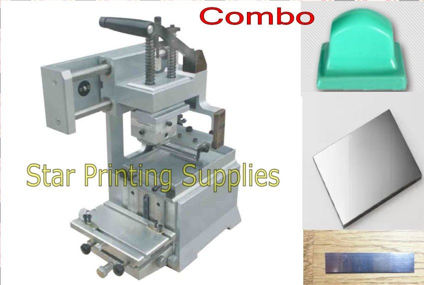 Manual Pad Printer Printing Machine + rubber pads 2 pcs + customized plate die kits combo pad printing rubber pad square pad