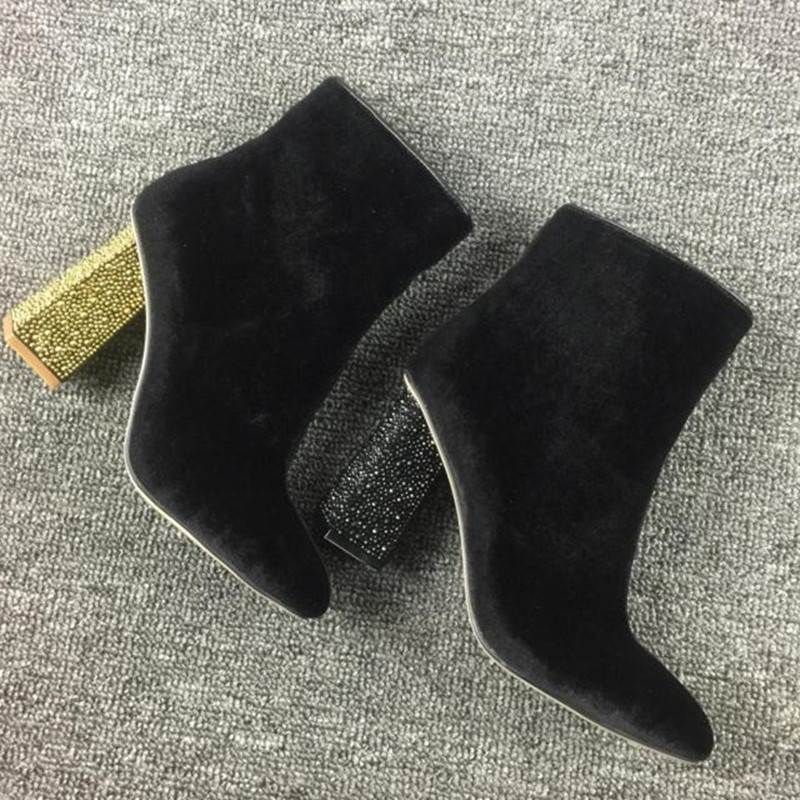 2016 Hot Autumn/Winter Shoes Woman Ankle Boots Velvet Flock Upper Chic Crystal Square High Heels Mujer Booties Side Zip Designer rosemary wells felix stands tall