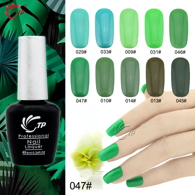 TP Brand 1pc 8ml Nude Green Color Series UV Gel LED Lamp Nail Art ...