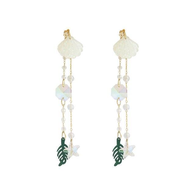 2019 New Arrival Crystal Trendy Water Drop Women Dangle Earrings  Seaside Holiday Shell Earrings Long-style Female Jewelry