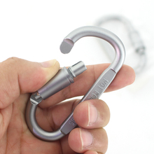 D образный алюминиевый карабин для скалолазания, винтовой замок, брелок с зажимом, подвесной крючок, дорожные наборы для кемпинга, походов, ключей, брелок