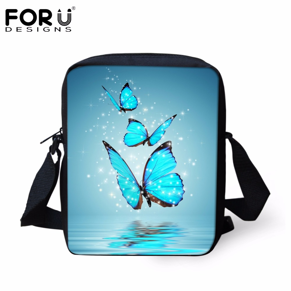 FORUDESIGNS Custom 3D Animal Blue Butterfly Print School Bags for Girls Children Shoulder Book Bag Mochila Kids Small Schoolbag