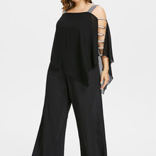 8b105edd29662 Wipalo Plus Size 5XL Ladder Cut Out Overlay Jumpsuit Women Square Neck  Asymmetrical Loose Fitting Fashion