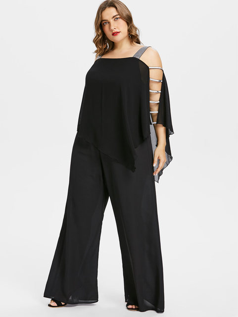 6aaeaefe4cb Wipalo Plus Size 5XL Ladder Cut Out Overlay Jumpsuit Women Square Neck  Asymmetrical Loose Fitting Fashion Jumpsuits Big Size