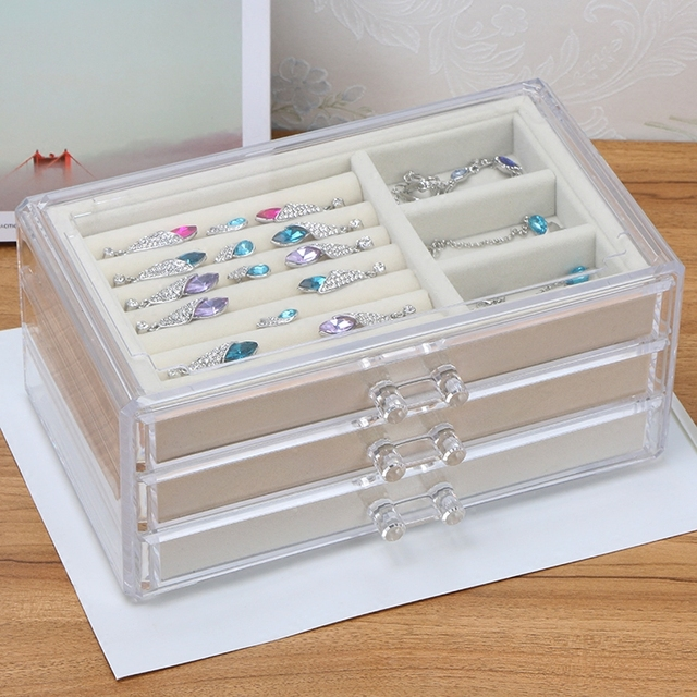 3 Layers Transparent Jewelry Box Princess Drawer Style Jewelry Storage Box  Multi Storey