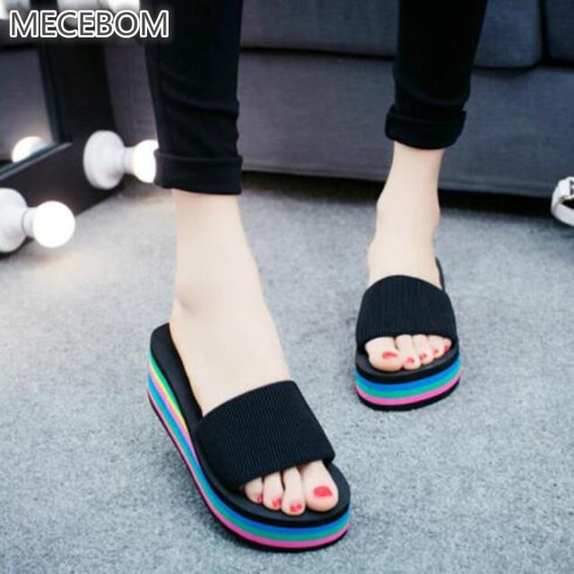 64879569171b3c 2018 Summer Woman Shoes Platform bath slippers Wedge Beach Flip Flops High  Heel Slippers For Women Brand Black EVA Shoes mxW