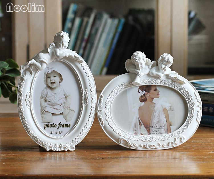 "NOOLIM Photo Frame White Oval Shape With One Picture 6x4"" For New Baby And Sweet Lover Gift Resin Picture Frame Bedroom Decor"