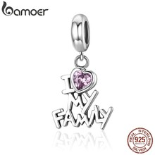 BAMOER Genuine 925 Sterling Silver I Love My Family Heart Dangle Charms fit Women Charm Bracelets Jewelry Family Gift SCC251(China)
