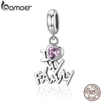 BAMOER genuino 925 plata esterlina amo mi familia corazón cuelga encantos de las mujeres pulseras del encanto de la joyería de regalo de SCC251