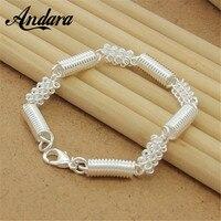 ADDARA 925 Silver Classic Link Bracelet Women Fashion Round Mesh Hollow Bangle Free Shipping Y026
