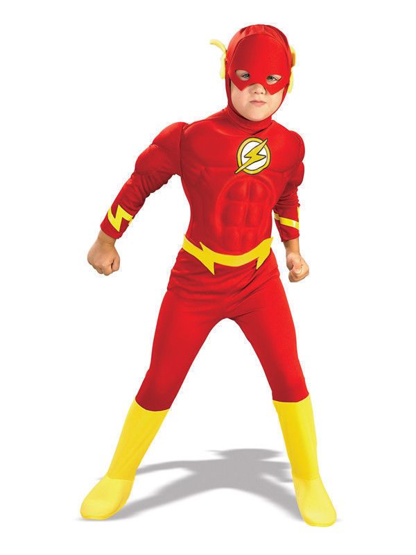 kids Cosplay The Flash Muscle Chest Outfit Fancy Children Superheroes Costume Comic Superhero Fancy Dress Fantasia Dress