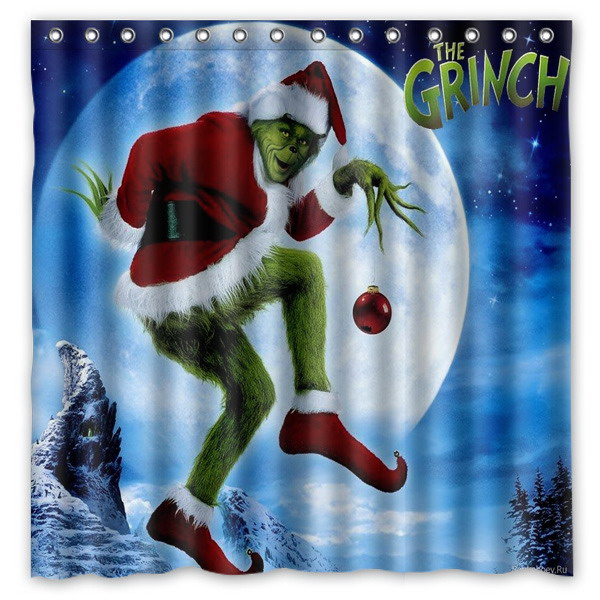 Polyester Fabric Bath Shower Curtain How The Grinch Stole Christmas Waterproof Bathroom Decorative Curtains 180x180cm With Whit In From Home