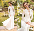 2016 Romantic Long Sleeve Chiffon Wedding Dress Mermaid Floor Length White Vestidos De Noiva Sexy Sheer Lace Bridal Gown
