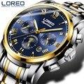 LOREO лучшие мужские часы люксовый бренд водонепроницаемые 50 м автоматические часы мужские Moon Phase механические часы erkek kol saati