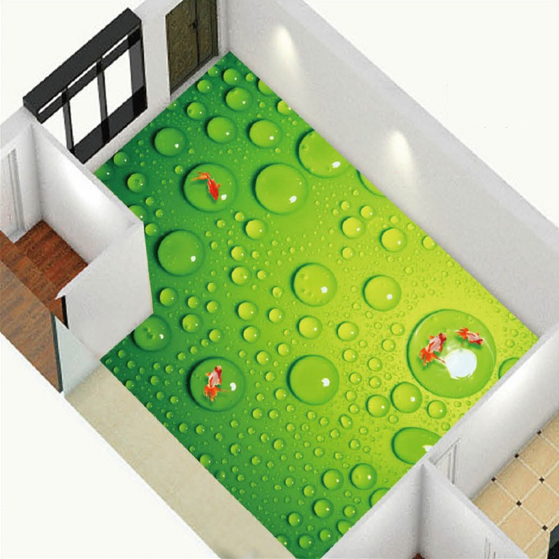 Free Shipping Green Water Drops 3D Floor Painting Sea World Bathroom living room kitchen office studio floor wallpaper mural