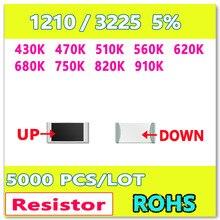 Оригинал 1210 J 5% 5000 шт. 430 К 470 К 510 К 560 К 620 К 680 К 750 К 820 К 910 К Высокое качество smd резистор 1210 ОМ