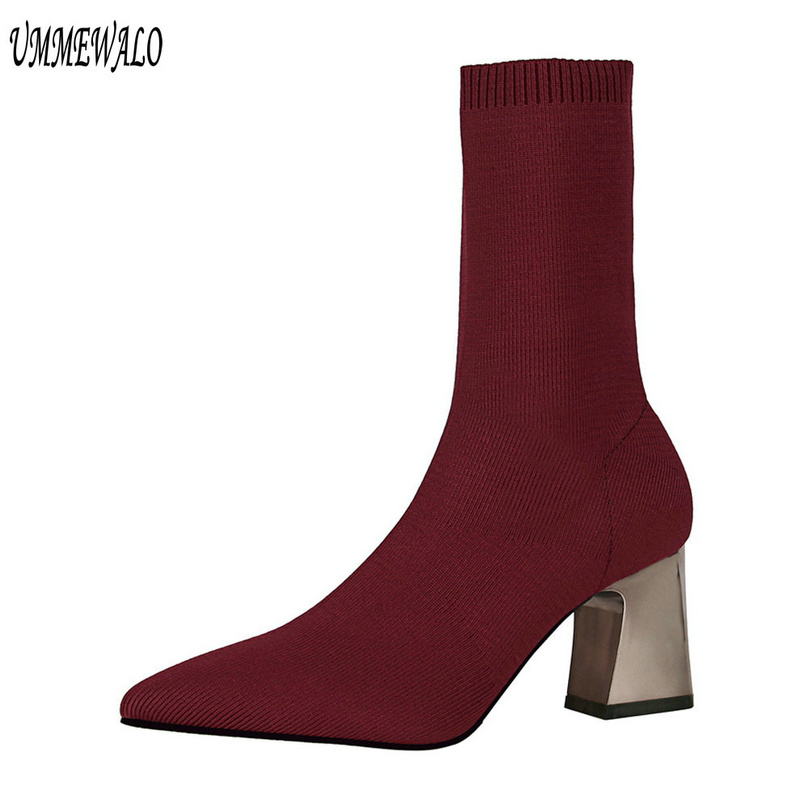 UMMEWALO Pointed Toe Stretch Sock Boots Women Fashion High Heel Shoes Ankle Length Boots Winter Ladies Shoes 336-7