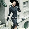 Le Palais Vintage autumn and winter retro elegant gray Slim retro fishtail dress/bodycon lace dress LPV036