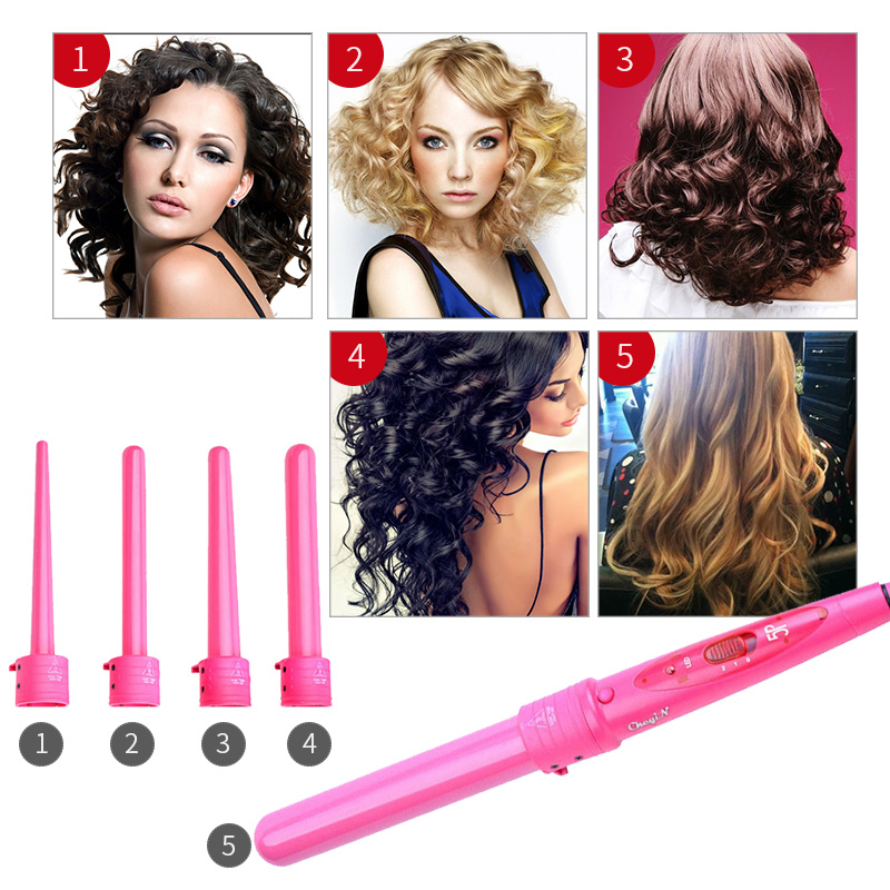 Ckeyin 5in1 Hair Curling Iron 9MM-32MM Hair Curlers Tongs Heat Resistant Digital Ceramic Curling Iron Wand Hair Curler Roller45 ckeyin lcd 19mm ceramic curling iron triple barrel hair curlers styler fast heating hair styling tool magic spiral curling wand
