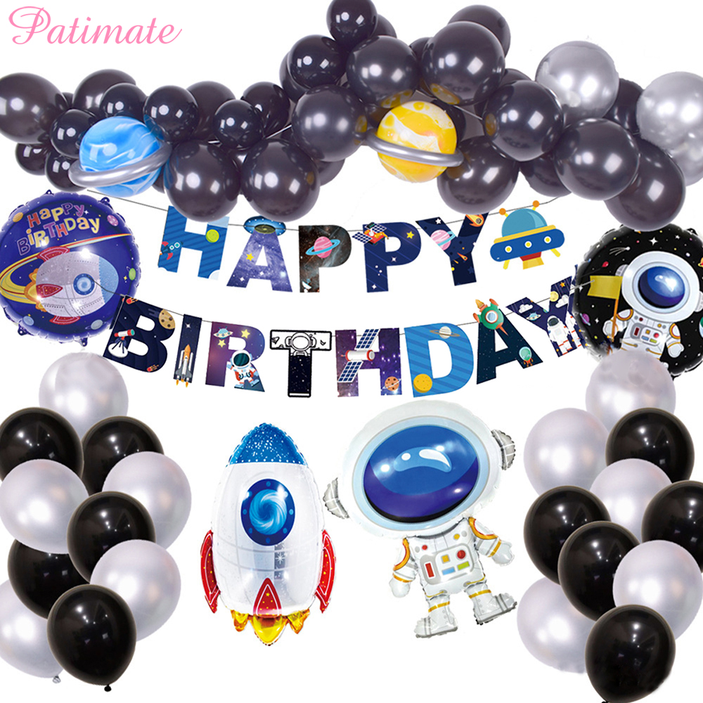 Outer Space Party Astronaut Rocket Foil Balloons Galaxy System Theme Party Balloon Boy Kids Birthday Party Decoration Favors